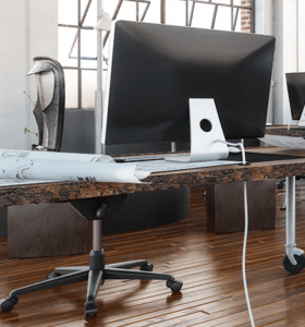 office with ergonomic equipment for back pain