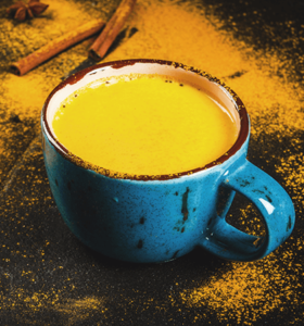 A golden milk tea with tumeric to fight inflammation.