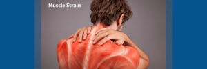 man with muscle strain in upper back