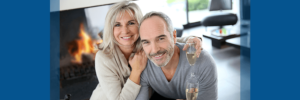 couple toasting to new year's resolution to end back pain